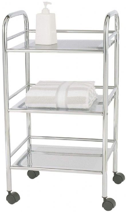 Wenko 3 Tier Shelving Trolley Chrome